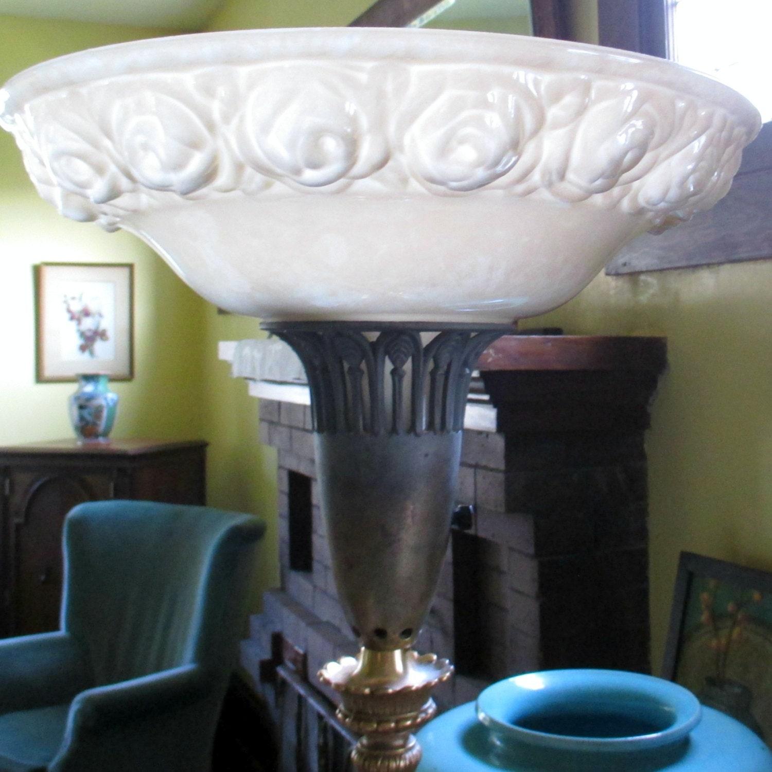 Antique Torchiere Floor Lamp Original Glass Shade With Raised