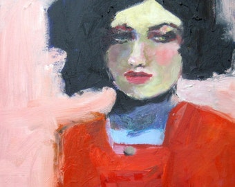 "Giclee Art Print of Oil Portrait, Woman in a Red Dress - ""Maddie"" 8 x 8"