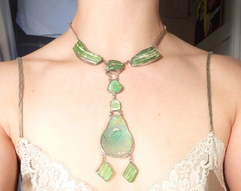 Vintage Israeli Artist Made Sterling and Roman Glass Sea Siren Necklace
