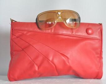 Sale! // Vintage 1980's GITANO Red Faux Leather Clutch // vintage Handbag