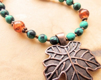 Leaf Necklace, Copper and Green Gemstone Necklace, Handcrafted Jewelry, Fall Jewelry, Green and Orange, Woodland Jewelry, Pendant Necklace