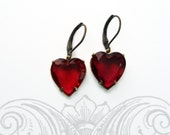 Dangle Red Heart Earrings - Wedding - Mother's Day Gift - Ruby Red Vintage Rhinestone Heart - HEARTSONG Ruby
