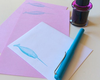 narwhal stationery letter set in aqua lilac neon pink gray, for your most magical sea friend