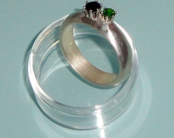 Black Onyx Chrome Diopside Pure Silver Cocktail Statement Ring