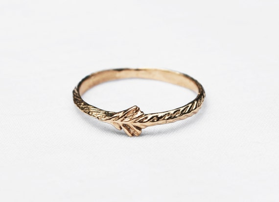 Solid Gold Tiny Sprout Rings