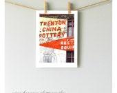 City Art, Trenton China Urban Art, Advertising Signs, Urban Decay Wall Decor,Philadelphia Photography,Advertising Art Print,City Photography