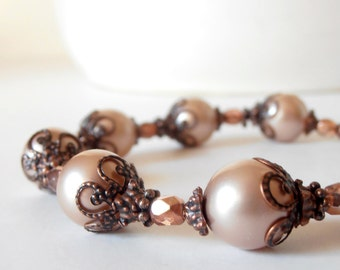 Bridesmaid Bracelets Blush Pink Pearl Rustic Wedding Beaded Jewelry Bridal Sets Antiqued Copper  Vintage Style Bridesmaid Gift Idea Handmade
