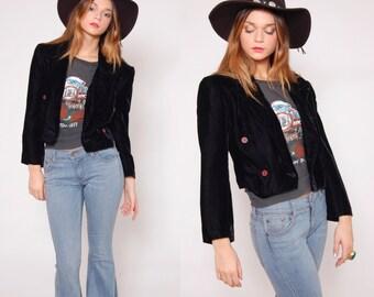 SALE Vintage 90s VELVET Crop Jacket Black Short Blazer Boho Chic Bolero Crop Blazer