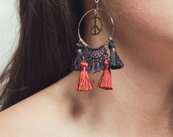 Lace earrings - WOODSTOCK - Indigo lace with silver ring, brass peace sign and black and burnt red tassels