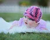 Crochet Newsboy Hat, Baby Crochet Beanie, Newborn Hat, Plum Pudding Newscap, MADE TO ORDER