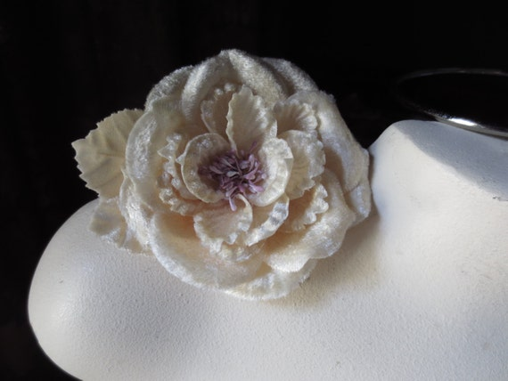 Velvet Millinery Rose in Ivory with Lilac stamens for Bridal, Sashes, Headbands, Costumes MF 111