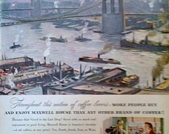 Vintage 1947 Maxwell House Coffee Magazine Ad - Coffee Print Ads Vintage Ads  Ads Kitchen Wall Decor  Maxwell House  Coffee Vintage Ephemera