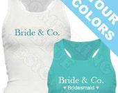Bride & Co. Bachelorette Party Tank Top. Name Co.