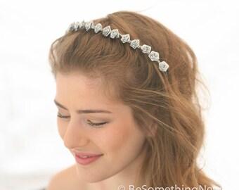 Metallic Silver Flower Headband, Boho Flower Crown, Silver Hair Wreath, Wedding Hair, Bohemian Festival Headband