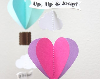 Hot Air Balloons and clouds Paper Garland