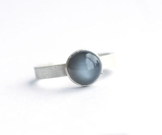Handmade Black Moonstone Sterling Silver Ring| Brushed Matte | Moonstone Ring