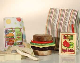 Food Hamburger Stacker and Fries - Wooden Play Set in a Fabric Bag with Juice Box. 20 Pieces - QuickShip