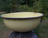 Vintage Yellow Enamelware Bowl...Mixing Bowl...Primitive...Rustic...Log Cabin Decor...