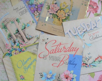 Lovely Vintage 1930s Floral Birthday Greeting Cards Lot of 6