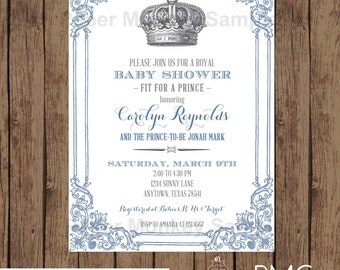 custom printed royal prince baby shower invitations 100 each with envelope