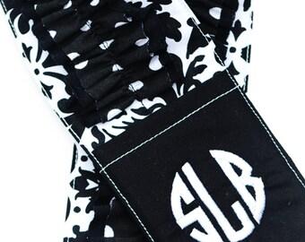 Monogrammed Ruffled Camera Strap Cover - Black is New Black/ White