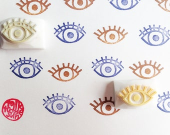 eye stamp set. hand carved rubber stamps. diy birthday wedding. gift wrapping. scrapbooking. quirky holiday craft projects. set of 2