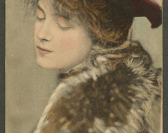Evelyn Nesbit Handtinted Antique Postcard