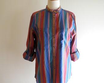Cute 70s / 80s CANDY striped camp shirt by Liz Claiborne sz. Medium