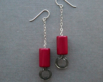 gallery earrings - vintage lucite and sterling silver
