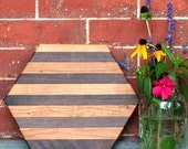 Hexagon Striped Cutting Board or Serving Platter  cherry and black walnut hardwood with FREE wood conditioner