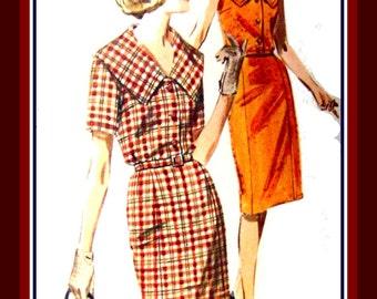 Vintage 1960s -Collar Statement Dress-Sewing Pattern-Two Styles-Blouson Top Wiggle Skirt- Short Sleeves-Sleeveless-Belt-Uncut -Size 18 -Rare