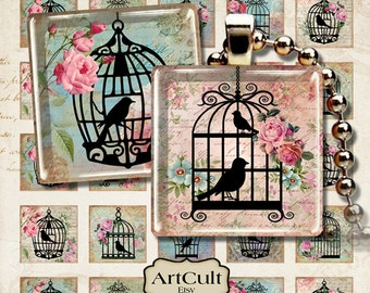 1x1 inch size images SWEET BIRD CAGES print-it-yourself Digital Download for glass or resin pendants bezel settings paper craft Art Cult