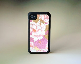 Floral Phone Case iPhone Pink + White Dogwoods Zinnias Flowers, iPhone 4, 4s, 5, 5s, 5c, 6, 6s, 6 Plus, 6s Plus Case, Galaxy S4, S5, S6 Case