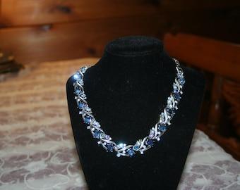 Vintage Rhinestone Necklace in Blue
