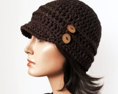 Hemp Wool Crochet hat Eco Friendly Woodland Inspired Newsboy Hat Brown Boho tree branch buttons Autumn Fall Winter Fashion Made to Order