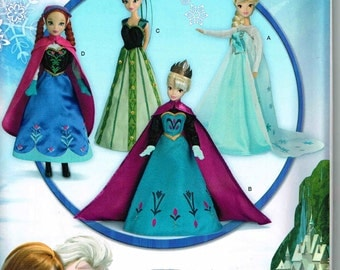 Doll  Clothes Disney Sewing Pattern 1234 Frozen Elsa Anna Snow Princess 11.5 Tall Barbie Simplicity 0734 Once upon a time