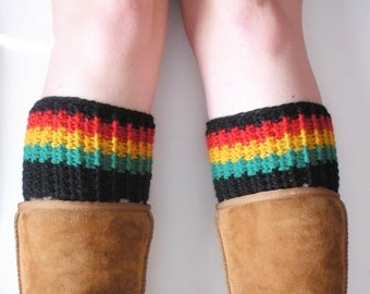 Chunky Crochet Rasta Boot Cuffs in Red, Gold, Green and Black, ready to ship.