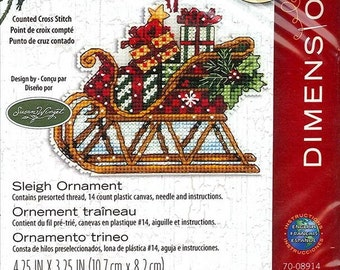 Dimensions - Sleigh Ornament 70-08914, Christmas Counted Cross Stitch Kit Susan Winget design