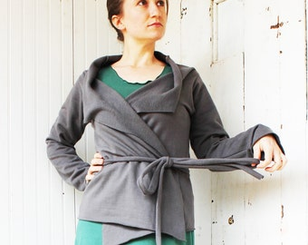 Organic Fleece Short Wrap Cardigan - Hemp and Organic Cotton Made to Order