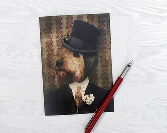Airedale Terrier Art Greeting Cards 5x7 Dog Card White Backdrop Stationery Animal Photography Pet Portrait Note Card - Sir Winston