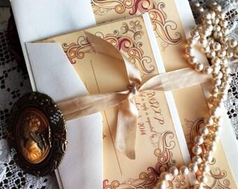 Vintage Romantic Floral Frame Wedding Invitation SAMPLE Handmade by avintageobsession on etsy