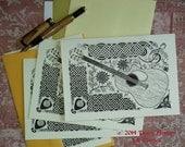 Celtic Guitar - set of 4 blank notecards