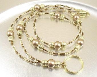 Beaded Lanyard - Bronze Swarovski Crystal Pearl Badge Lanyard, Necklace - Beaded ID Lanyard, Badge Holder