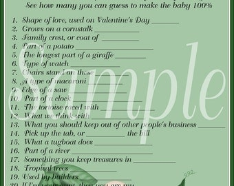 Baby Shower Printable Game Pea Pod 100 Percent Baby