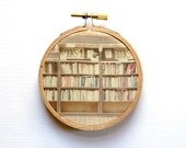 Bookstore Photography, Small Hoop Art, Textile Wall Hanging, Photography on Fabric, Brown Brick Boston Photography, Books Library Book Deco