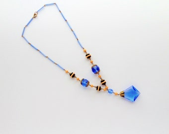 Art Deco Glass Necklace. Blue Black & Neutral
