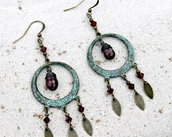 Ruby Gemstone and Teal Chandelier Earrings, Bohemian Earrings, Boho Chandeliers, July Birthstone, Bohemian Hoops,  Boho Dangles, Gypsy Hoops