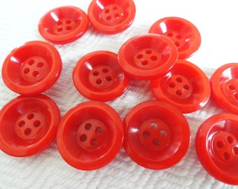 Cherry Red Vintage Buttons - 6 Mid Century Plastic