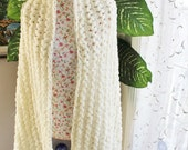 Angora Ivory Sparkle Handmade Crochet Wedding Shawl/ Neck warmer Wrap / Bridal Lace Hairpin Lace, Free Shipping - Ready to ship Today