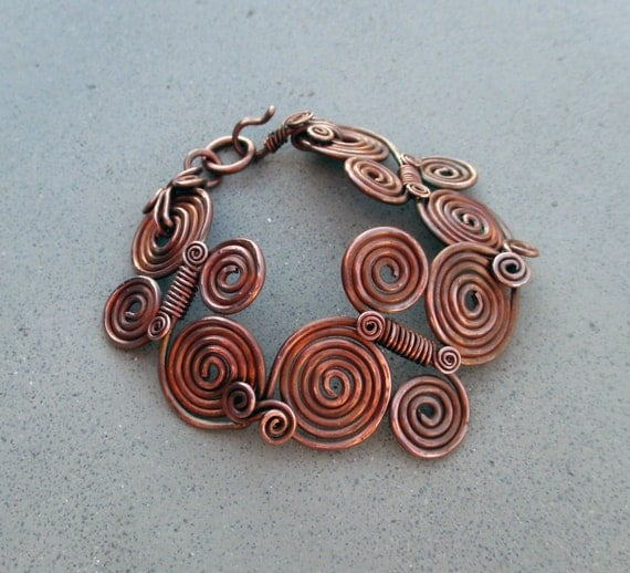 Pachamama Spiral Copper Bracelet Earth Mother Inca Earthy